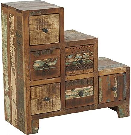 Mueble escalera 6 cajones madera reciclada, 66 x 30 x H68 cm: Amazon.es: Hogar