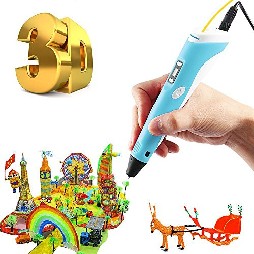 CETIM 3D Doodler Drawing Printing Printer Pen for Arts Crafts DIY Perfect Gift for Kids and Adults, Compatible with PLA ABS Filament,Safe and bright LED Display 210 Multi Leds