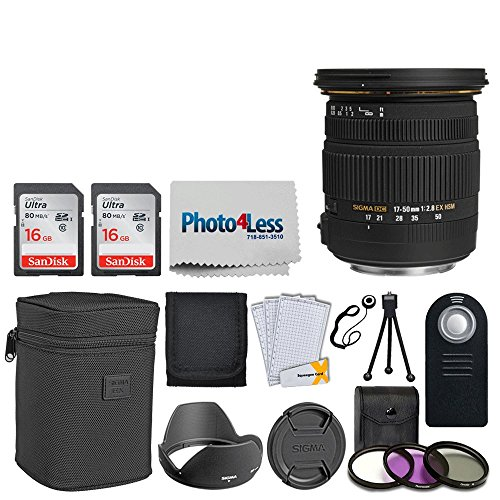 Sigma 17-50mm f/2.8 EX DC OS HSM Zoom Lens for Canon DSLRs with APS-C Sensors + 32GB Memory Card + 77mm Filter + Remote Control + Tripod + Memory Card Wallet + Photo4Less Cloth + Lens Cap Holder (Ex Zoom Control)