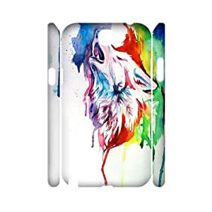 Qxhu Rainbow wolf Protective Snap On Hard Plastic Case for Samsung Galaxy Note2 N7100 3D case