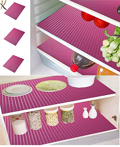 Kuber Industries PVC 6 Piece Fridge Mat Set - Pink