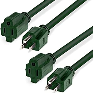 outdoor power extension cord 15ft 2 pack fosmon ul listed 16 3 sjtw 16awg 125v 13a 1625watt. Black Bedroom Furniture Sets. Home Design Ideas