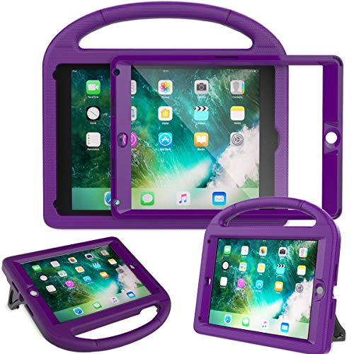 AVAWO Kids Case Built-in Screen Protector for New iPad 9.7 2018 & 2017 - Shockproof Case with Handle for iPad 9.7 Inch (2018 6th Gen) & 2017 5th Generation - Purple