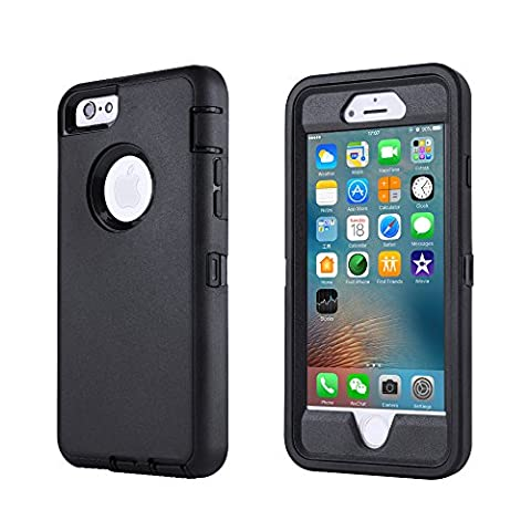 iPhone 6/6s Case,[HEAVY DUTY] Defender Armor 3 in 1 Built-in Screen Protector Rugged Cover Dust-Proof Shockproof Drop-Proof Scratch-resistant Tough Shell for Apple iPhone 6/6s 4.7 inch (Iphone 6 Case Armor Rugged Black)