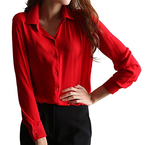 6514f951bcf cheap Cekaso Women s Button Up Shirts Solid Collared Sheer Long Sleeve  Chiffon Blouse