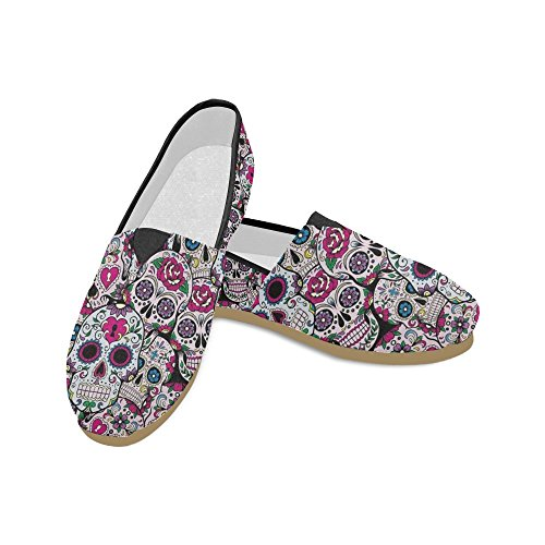 D-Story Fashion Sneakers Flats Sugar Skull Women's Classic Slip-on Canvas Shoes ()