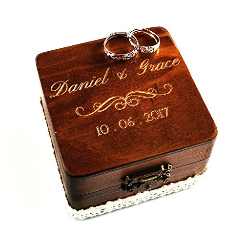 Personalized wooden square ring bearer box, rustic ring box engagement ring box ,custom engraved ring box