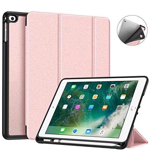 Fintie iPad 9.7 2018 Case with Built-in Apple Pencil Holder - [SlimShell] Lightweight Soft TPU Back Protective Stand Cover with Auto Wake/Sleep for Apple iPad 2018 9.7 Inch (6th Gen), Rose Gold