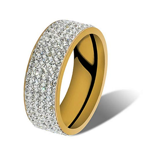 (Dokis Men Women Stainless Steel Crystal Band Ring Gold Silver Wedding Band Ring Sz8-10   Model RNG - 4147   Size 8)