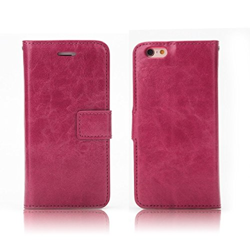 JIALUN-carcasa de telefono Crazy Horse textura de diseño desmontable PU de cuero de la cartera Funda de la bolsa con ranuras de tarjeta para el iPhone 6 Plus y 6s Plus ( Color : Black ) Wine