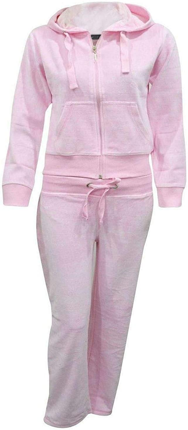 7-14 Kids Girls Hooded Velour Pocket Zip Active Jogging Bottom Suit Tracksuit