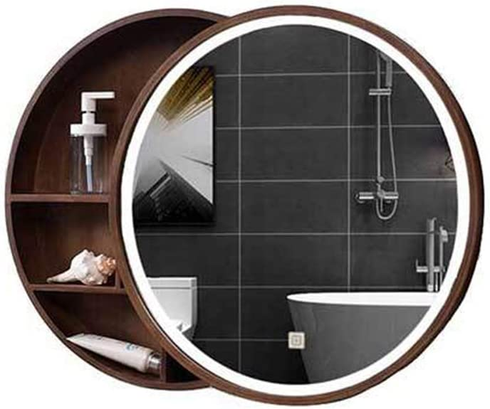 Bathroom mirror-Jack Redondo Madera Maciza Baño Gabinete de Espejo,Montado en la Pared Armario de Almacenamiento con Iluminación 6WLED,Puerta corrediza