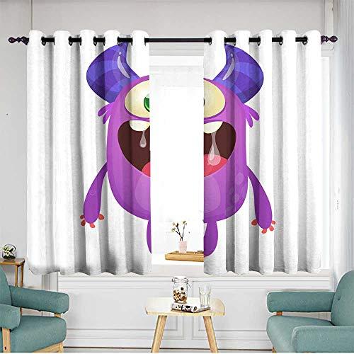 Sillgt Indoor/Outdoor Curtains Funny Cute Cartoon Monster Character Vector Illustration or Purple Monster Halloween Design Energy Efficient, Room Darkening W 55