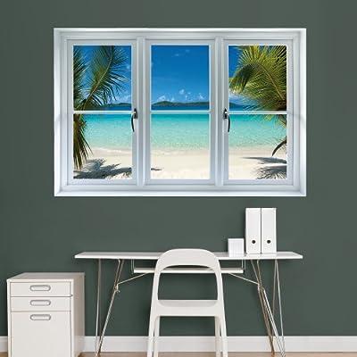 "Fathead Wall Decal, ""Virgin Islands Beach Scenic Window"""
