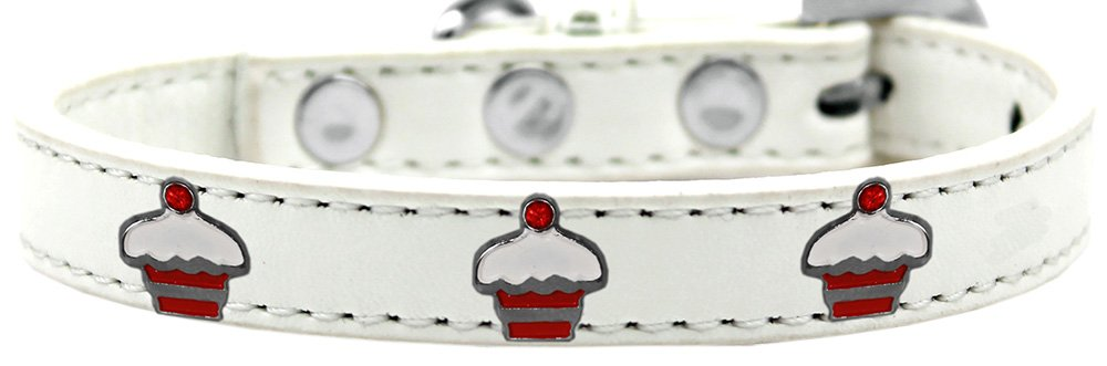 Mirage Pet Products 631-28 WT10 Red Cupcake Widget Dog Collar, Size 10, White