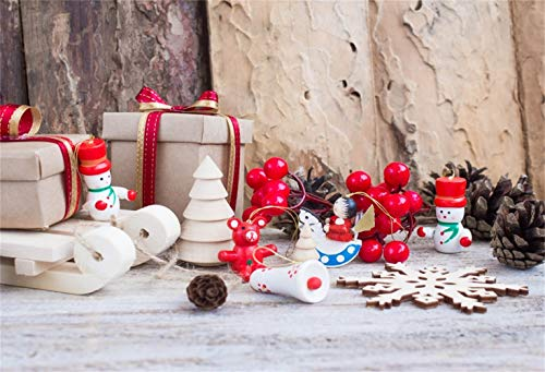 Laeacco Christmas Backdrop Vinyl 8x6.5ft Weathered Wall Red Cap Snowman Xmas Tree Berries Sled Snowflakes Gifts Pine Cone Photography Background Xmas New Year Party Banner Child Baby Adult Shoot