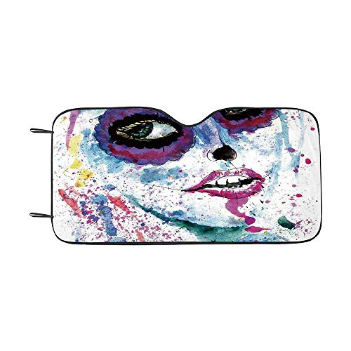 Girls Durable Car Sunshade,Grunge Halloween Lady with Sugar Skull Make Up Creepy Dead Face Gothic Woman Artsy for car,55