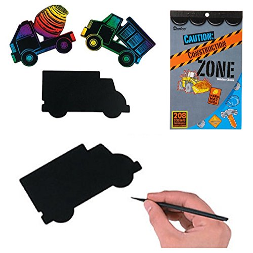 Awesome CONSTRUCTION Zone STICKER Book (208) & MAGIC Scratch VEHICLES (24) Arts & Crafts DUMP TRUCK Bulldozer CRANE