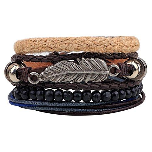 Bracelet Cuff Leaf (Ethnic Tribal Leaf Bracelets Cuff Multilayer Leather Beads Wrap Bracelet Vintage Rope Wristband)