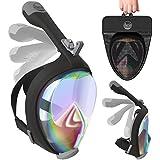 Full Face Snorkel Mask UV Easybreath Foldable - 2.0 Panoramic 180 Seaview Snorkeling Mask with GoPro Camera Mount – Scuba Mask Anti Fog, Earplug & Bag, for Adults & Youth (Women & Men)