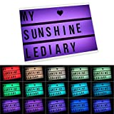 LEDIARY Color Changing Cinema Light Box with Remote Control Message Board Light A4 Size Letters,Emoji,Numbers Included,USB Or Battery Powered