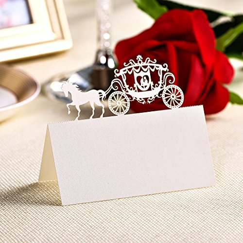 YUFENG Place Cards Laser Cut Table Name Cards For Wedding Birthday Party (60pcs white)