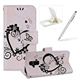 Strap Leather Case for Samsung Galaxy A8 Plus 2018,For Samsung Galaxy A8 Plus 2018 [White Leather Design] Magnetic Smart Leather Folio Carrying Cover with Cash ID Cards Holders,Herzzer Elegant Premium Slim [Black Love Hearts Flower Embossed] Inlaid Wallet Wrist Strap Case Stand Function Protective Phone Cases Cover For Samsung Galaxy A8 Plus 2018 + 1 x White Cellphone Kickstand + 1 x Silver Stylus Pen