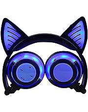 LIMSON Auriculares Inalámbricos Bluetooth Sobre el Oído, Headphones Plegables Recargables del Oído del Gato con Micrófono Headset Ergonómicos Brillantes del LED Earphone BTR107