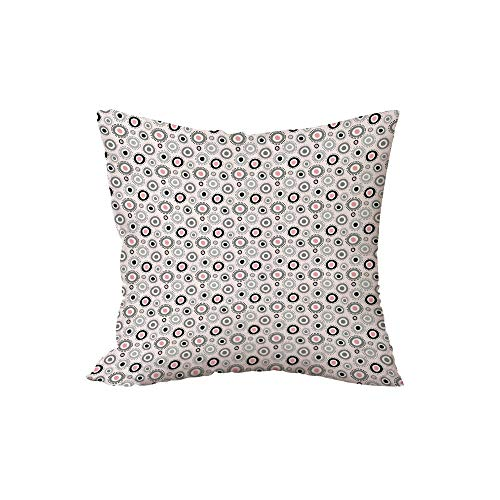 iPrint Polyester Throw Pillow Cushion,Geometric,Circular Doodle with Cute Kids Playroom Girls Nursery Childish Theme Decorative,Grey Pale Pink White,15.7x15.7Inches,for Sofa Bedroom Car Decorate