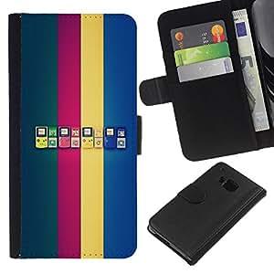 LECELL--Cuero de la tarjeta la carpeta del tirón Smartphone Slots Protección Holder For HTC One M9 -- Generaciones de Game Boy --