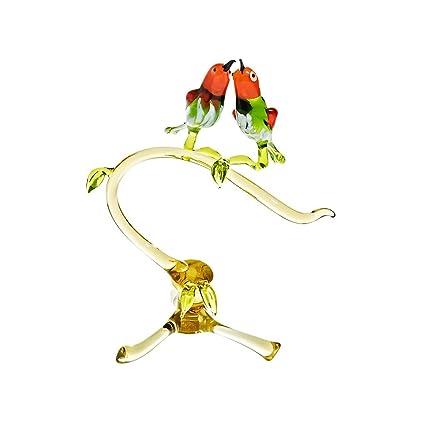 Amazon.com: Figura de cristal de pájaros en rama ...