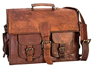 HIDE 1858 TM Style Full Grain Handmade Messenger Briefcase Bag