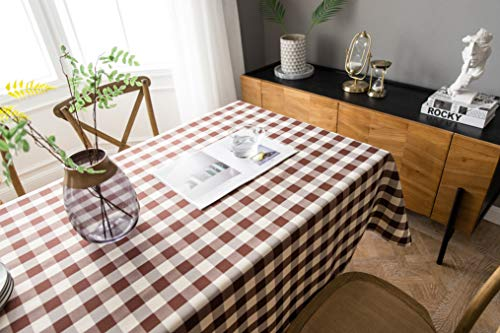 Farmhouse Rectangular (Aquazolax Farmhouse Chic Rectangular Tablecloth Luxury Elegant Weights Table Protector, 60 x 104 inches, Brown)
