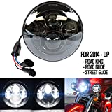 Belt&Road 7 Inch Round Super White LED Headlight for 2014-2017 Harley Davidson Street Glide Special,Hi-Lo Beam Headlamp With Dual Beam Adapter,Black Housing
