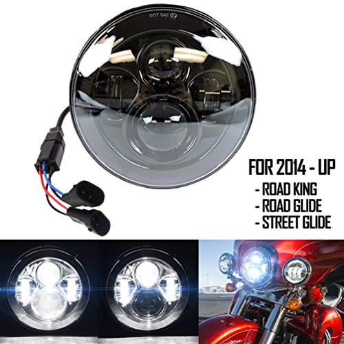 Belt&Road 7 Inch Round Super White LED Headlight Daymaker Projector for 2014-2017 Harley Davidson Street Glide Special,Hi-Lo Beam Projector Daymaker,Black Housing