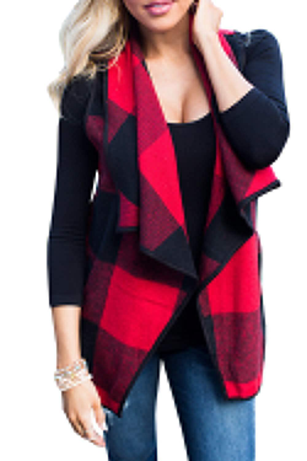 Zilcremo Womens Jacket Vest Checked Open Front Cardigan Vests Tops