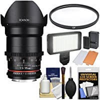 Rokinon 35mm T/1.5 DS Cine Lens with UV Filter + Video Light + Kit for Video DSLR Olympus / Panasonic Micro 4/3 Cameras