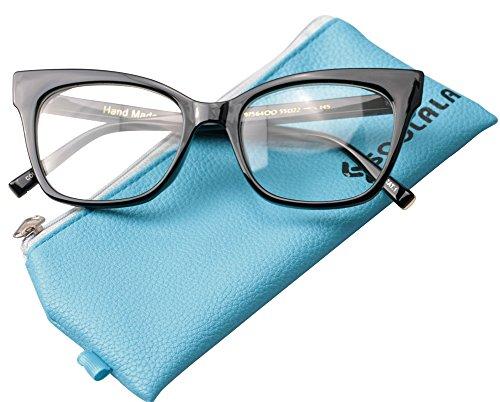 SOOLALA Vintage Stylish 53mm Lens Oversized Reading Glass Big Eyeglass Frame, Black, +1.25