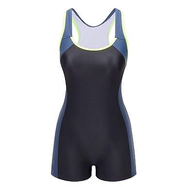 bdd0040fce6f3 Lemef One Piece Swimsuit Boyleg Sport Swimwear for Women Black and Navy