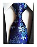Men's Boys Silk Navy Blue Tie Paisley Pattern 3.15'' Width Necktie For Any Outfit