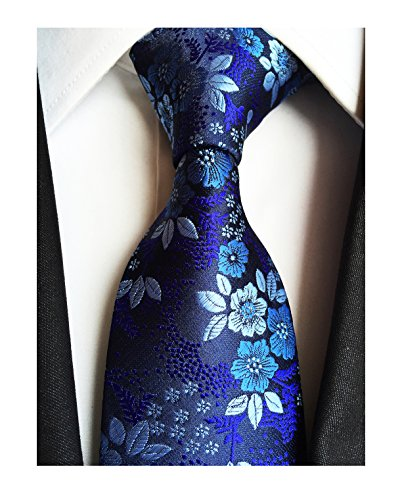 Dress Modern Tie (Men's Boys Silk Navy Blue Tie Paisley Pattern 3.15