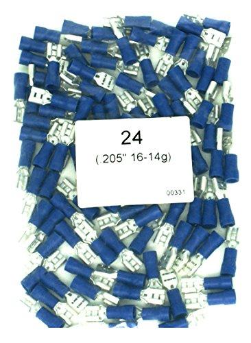 """DNF 200 Pack Blue Vinyl 16-14 Gauge Female Quick Disconnect Wire Connectors .205"""""""