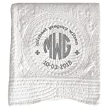 Personalized Embroidered Baby Quilt, Monogrammed Baby Blanket, Soft Baby Quilt 36'' X 46'' (White)