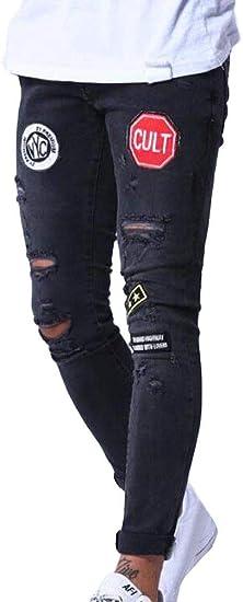 FRPE Men Stretch Skinny Fit Patches Hip Hop Jeans Denim Pants