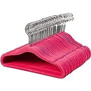 AmazonBasics Kids Velvet Hangers, 50-Pack, Pink