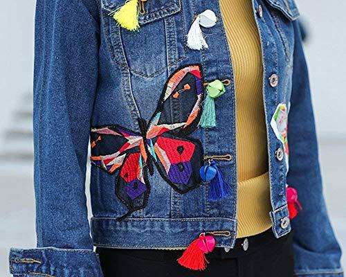 Otoño Abrigo Chaqueta Cortos Abrigos Blau Mujer Mujeres Jeans De Chaquetas Bordados Vaqueras Slim Butterfly Mezclilla Fit Battercake Jacket Larga Primavera Classic Manga Casuales Dunkel 8wHqw