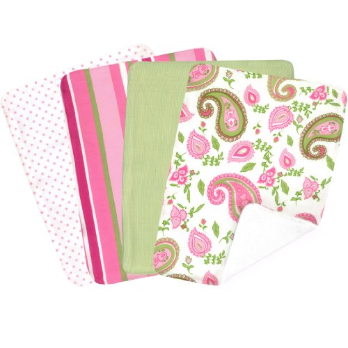 - Trend Lab 100% Cotton Paisley Park Blooming Bouquet Burp Cloth Set, 4 Pack Pink/Green/White
