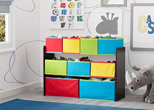 515uQ3%2BoPsL - Delta Children Deluxe Multi-Bin Toy Organizer with Storage Bins, Dark Chocolate/Primary Colored