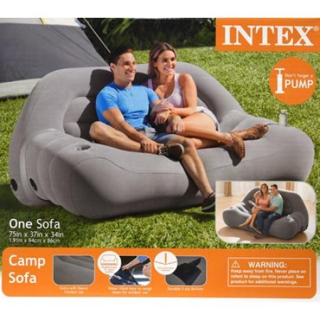 Intex Inflatable Outdoor Camping Sofa 75 X 37 X 34 Grey Brickseek