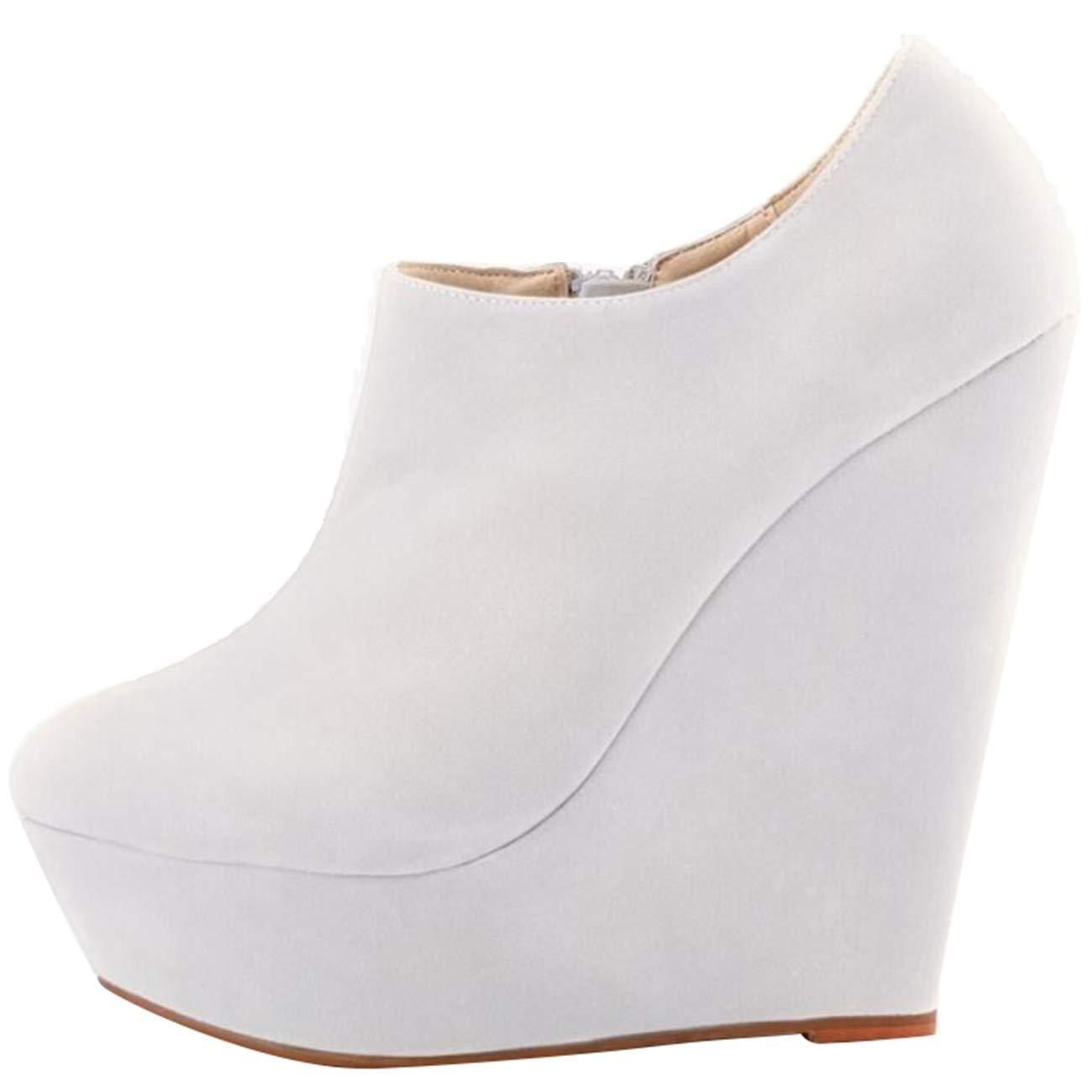 Qiusa Damen Runde-Toe Plate Wedge-Heel Wedge-Heel Wedge-Heel Zip Suede Chukka Stiefel (Farbe   Weiß Größe   6 UK) 81d3de